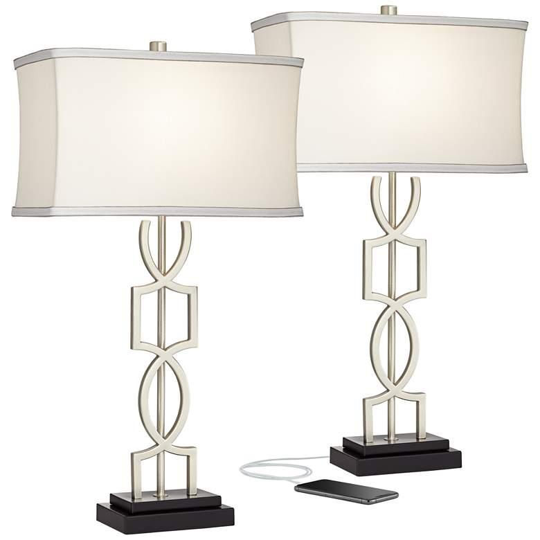 Evan Metal USB Table Lamps Set of 2