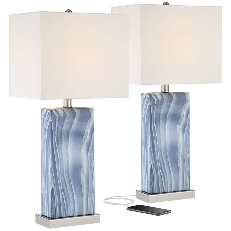 Connie Blue USB Lamps with Table Top Dimmers