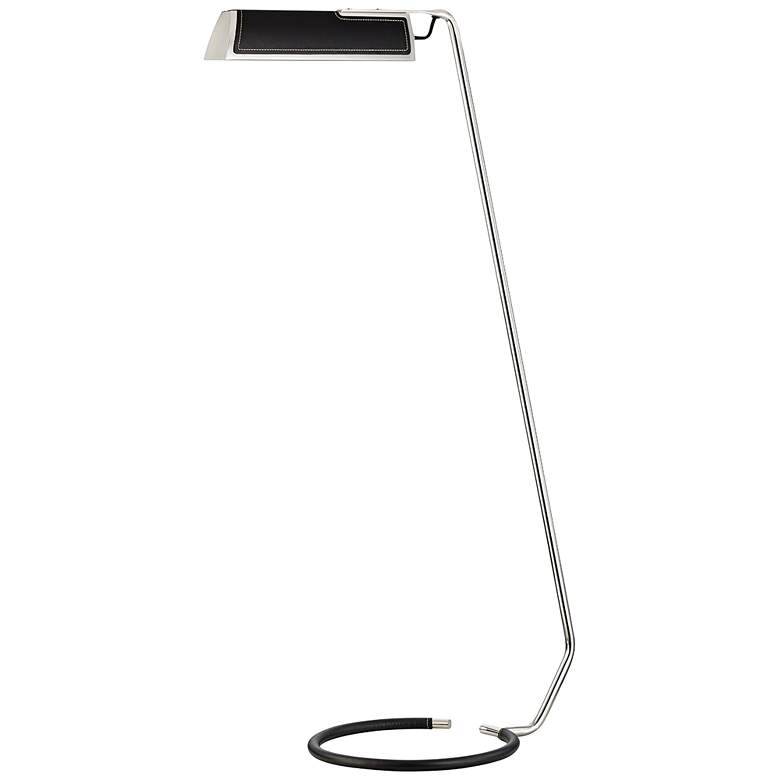 Holtsville Nickel and Saddle Leather LED Task Floor Lamp