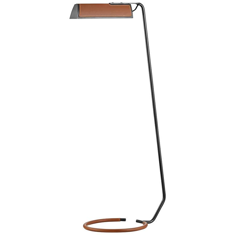 Holtsville Old Bronze and Saddle Leather LED Task Floor Lamp