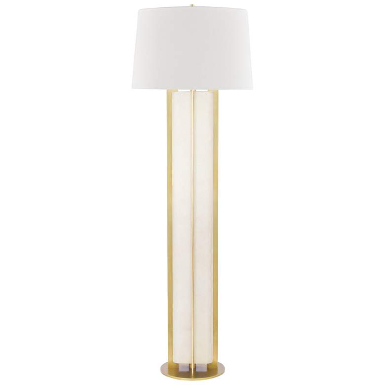 Hudson Valley Coram Aged Brass and Cream Shagreen Floor Lamp