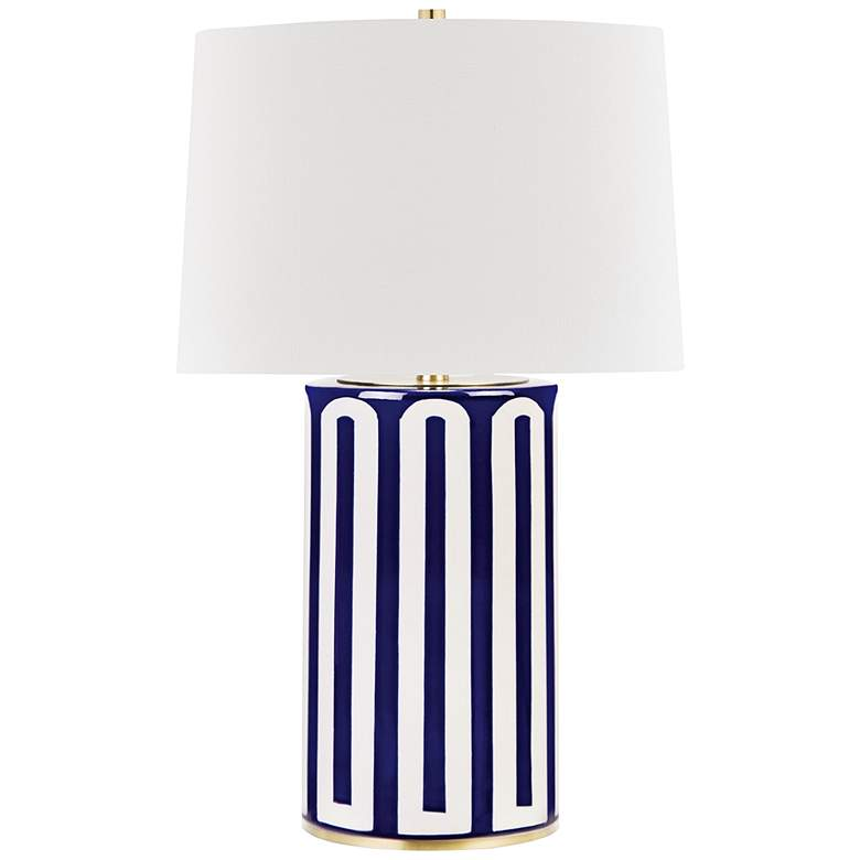 Hudson Valley Borneo Blue Stripes Ceramic Table Lamp