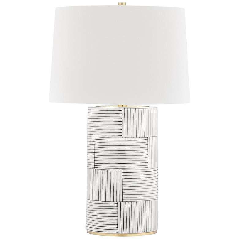 Hudson Valley Borneo White Stripes Ceramic Table Lamp