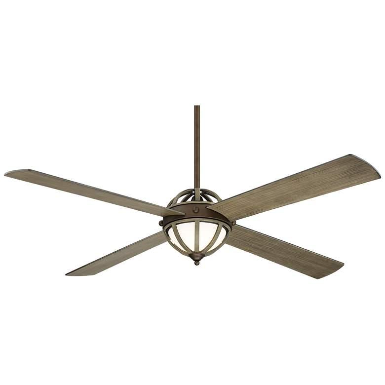 "60"" Casa Farmhouse Oil Rubbed Bronze Wood LED Ceiling Fan"