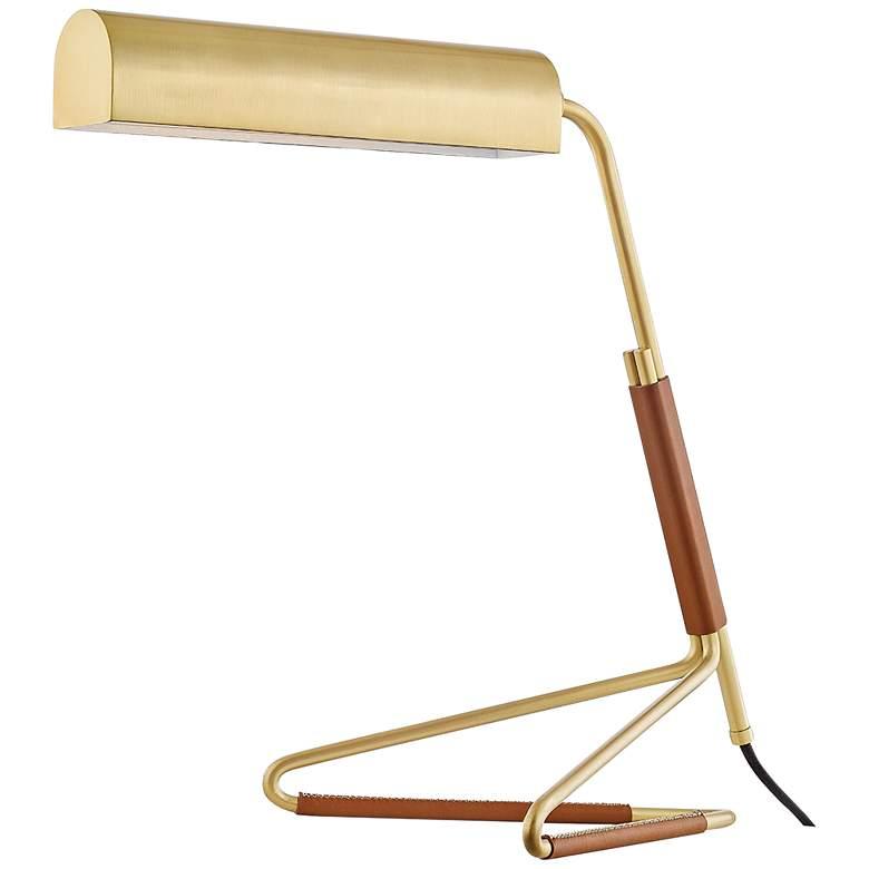 Vance Aged Brass and Saddle Leather LED Desk Lamp