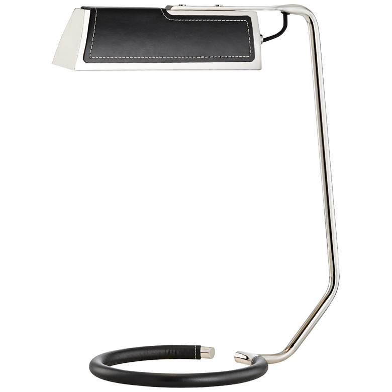 Holtsville Nickel and Black Saddle Leather LED Desk Lamp