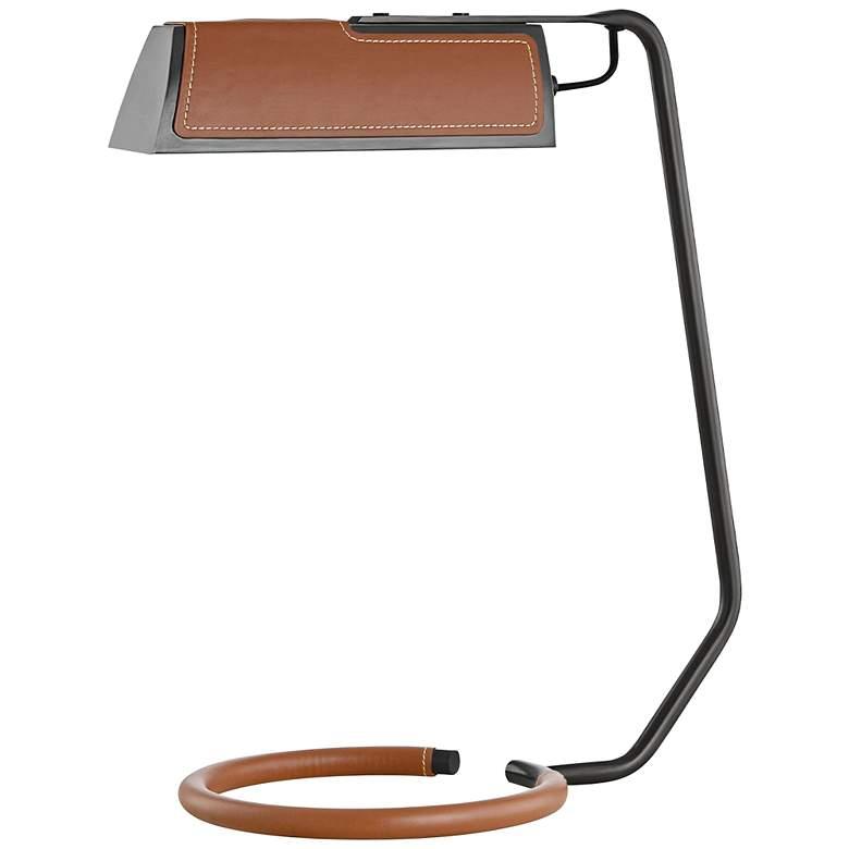 Holtsville Old Bronze and Saddle Leather LED Desk Lamp