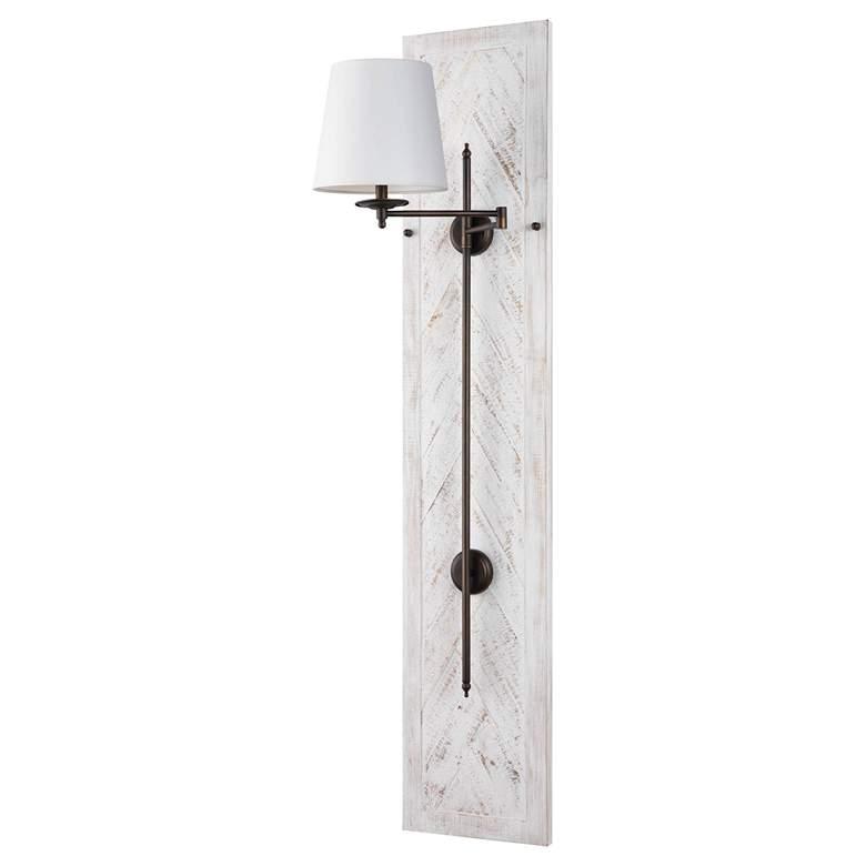 Coastal Chic Herringbone White Swing Arm Pin-Up Wall Lamp