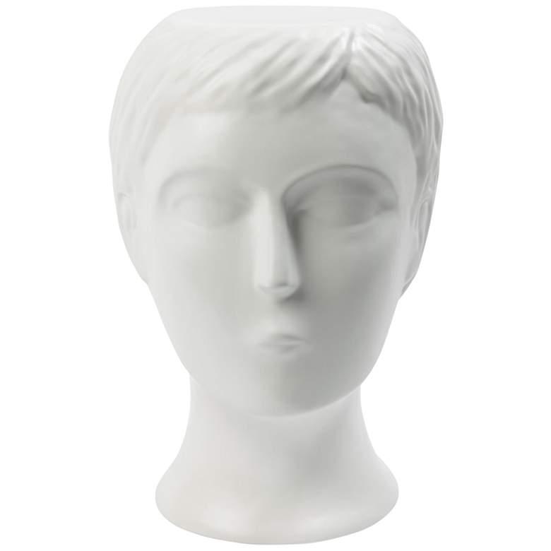 Global Views Bijorn Matte White Ceramic Outdoor Accent Stool