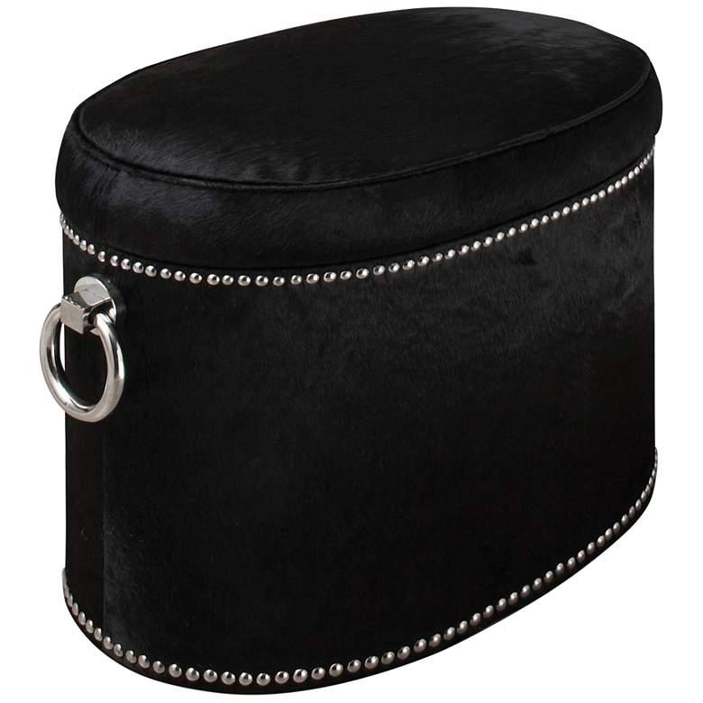 Global Views Angus Black Cowhide Leather Ring Storage