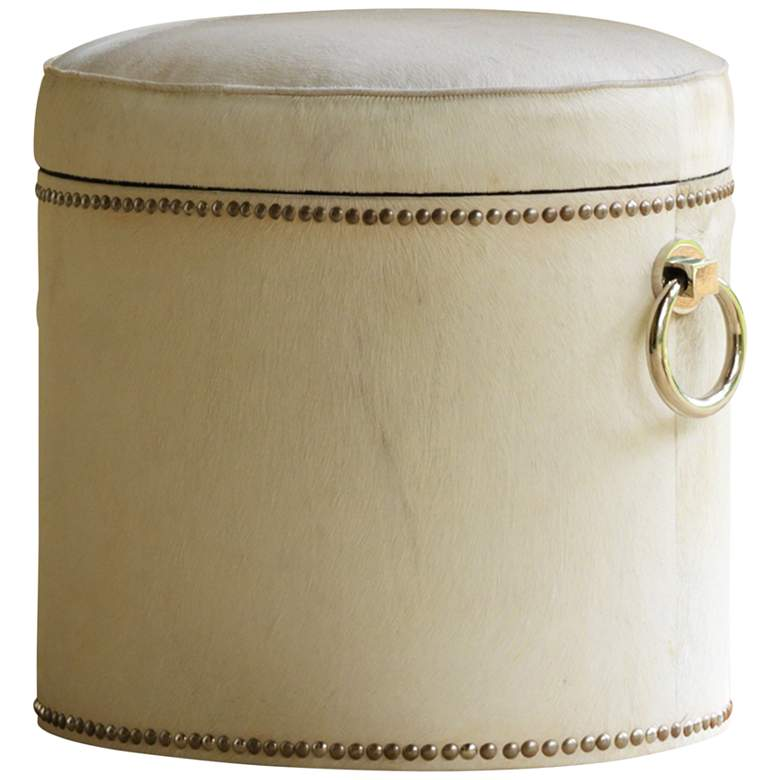 Global Views Chalis Ivory Cowhide Leather Ring Storage