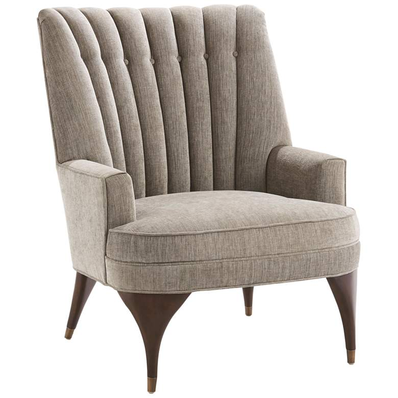 Duncan Pale Gray Woven Silversmith Fabric Tufted Armchair
