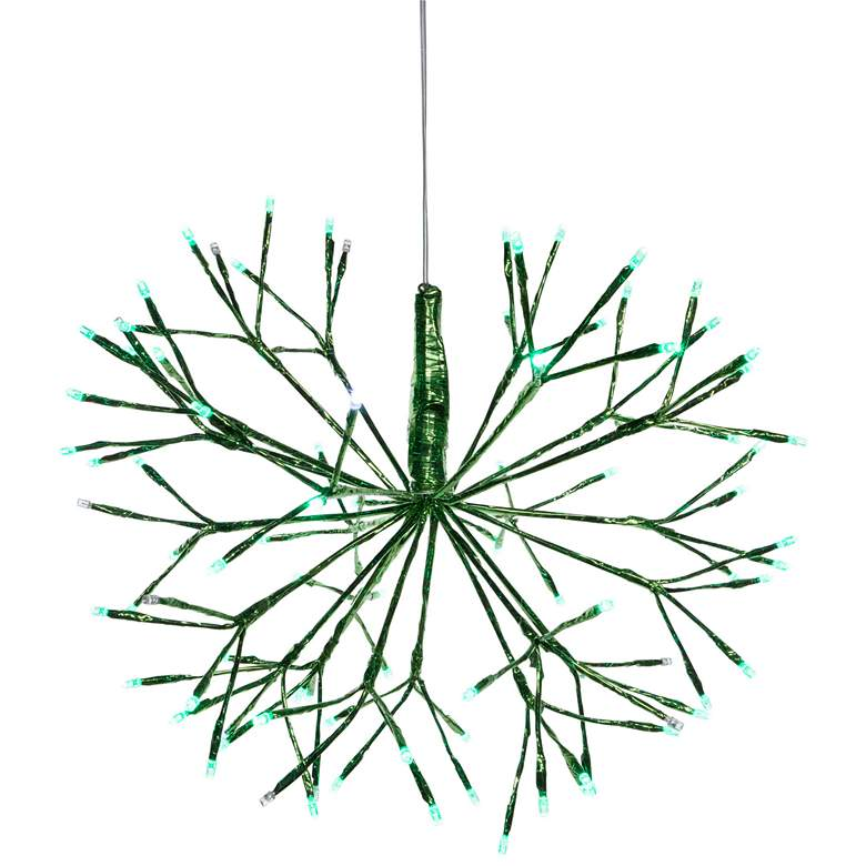 Green Plug-In Hanging Snowflake Xmas Ornament w/ LED