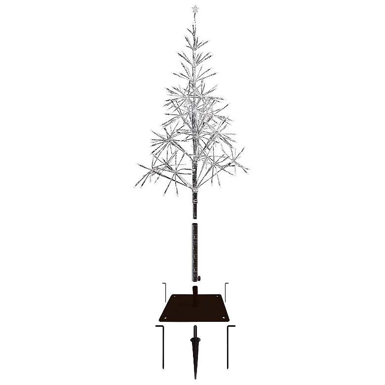 """Festive Silver 53""""/61""""H LED Artificial Christmas Tree"""