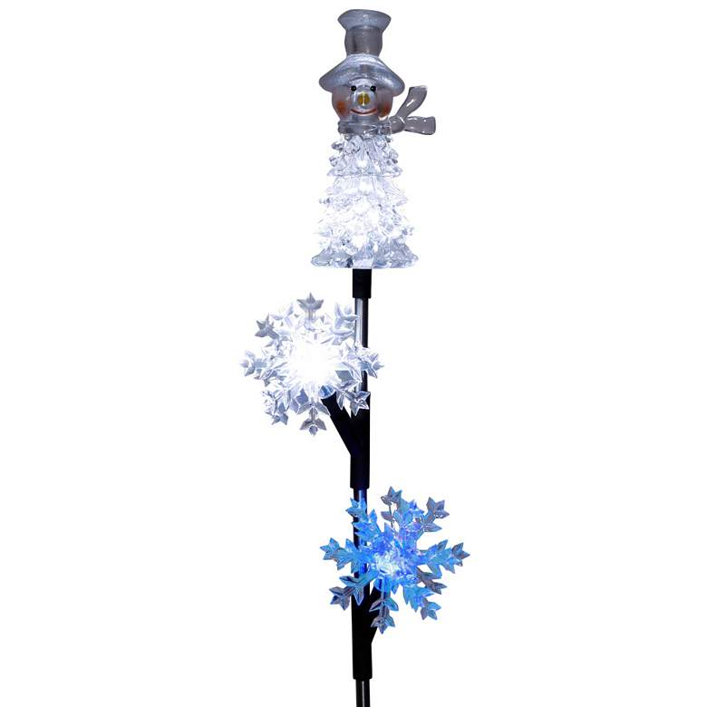 "33"" High Solar LED Snowman and Snowflake Christmas"