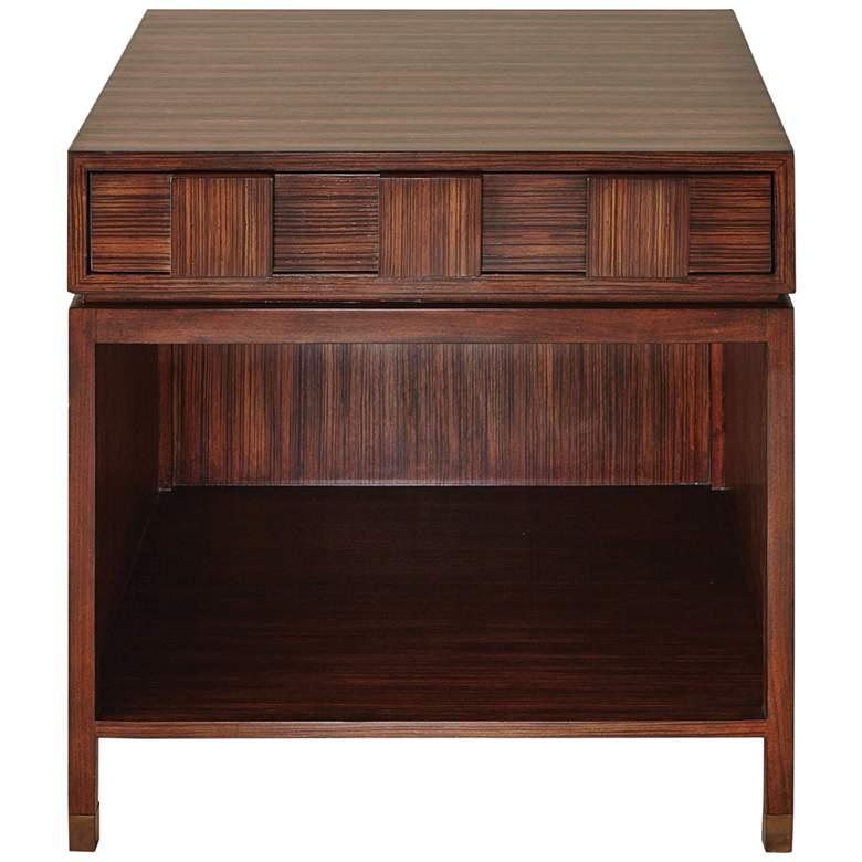"""Quad 26"""" Wide Block Zebra Wood 1-Drawer Bedside"""