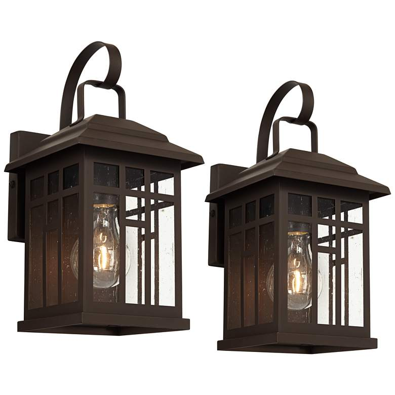 Bester Bronze and Glass Outdoor Wall Lights Set of 2