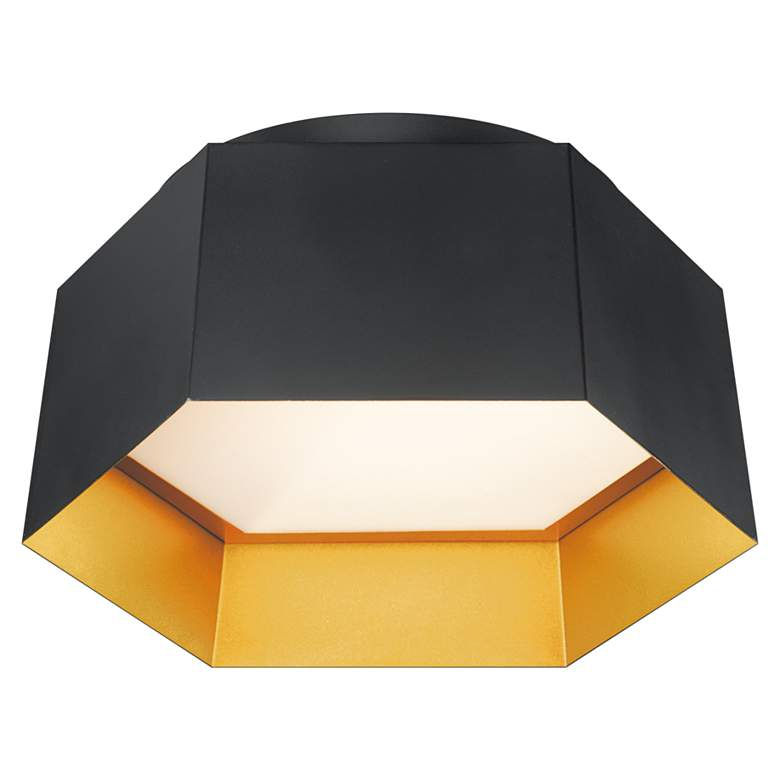 """Maxim Honeycomb 16"""" Wide Black and Gold LED Ceiling Light"""