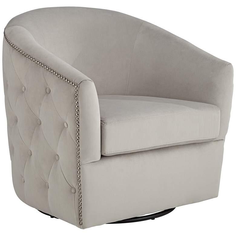 Ascher Light Gray Tufted Swivel Accent Chair