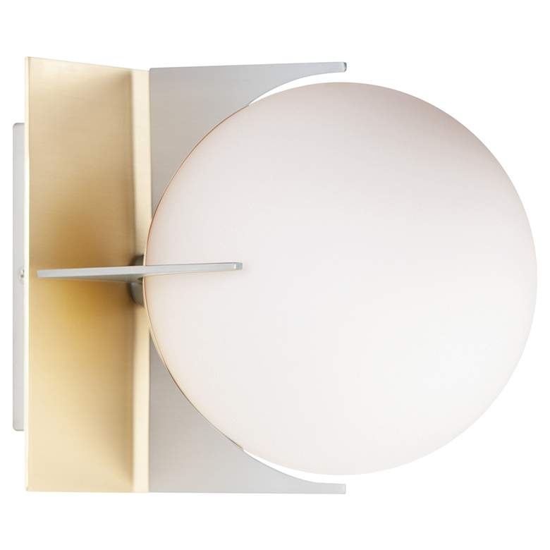 """Finn 6 1/2""""H Satin Brass and Brushed Platinum Wall Sconce"""