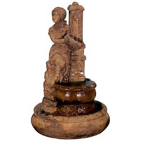 """Henri Studio 36"""" High Village Maiden at Well Fountain"""