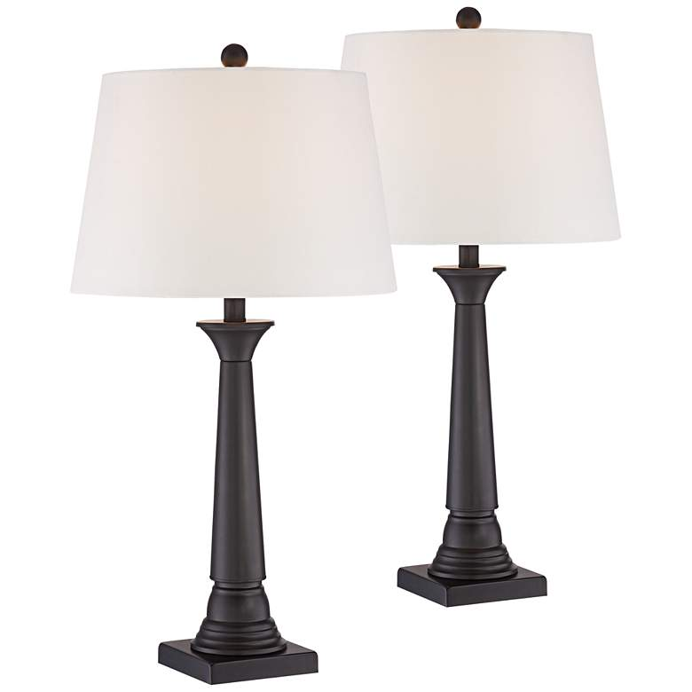 Dolbey Bronze Column Lamps Set of 2 with