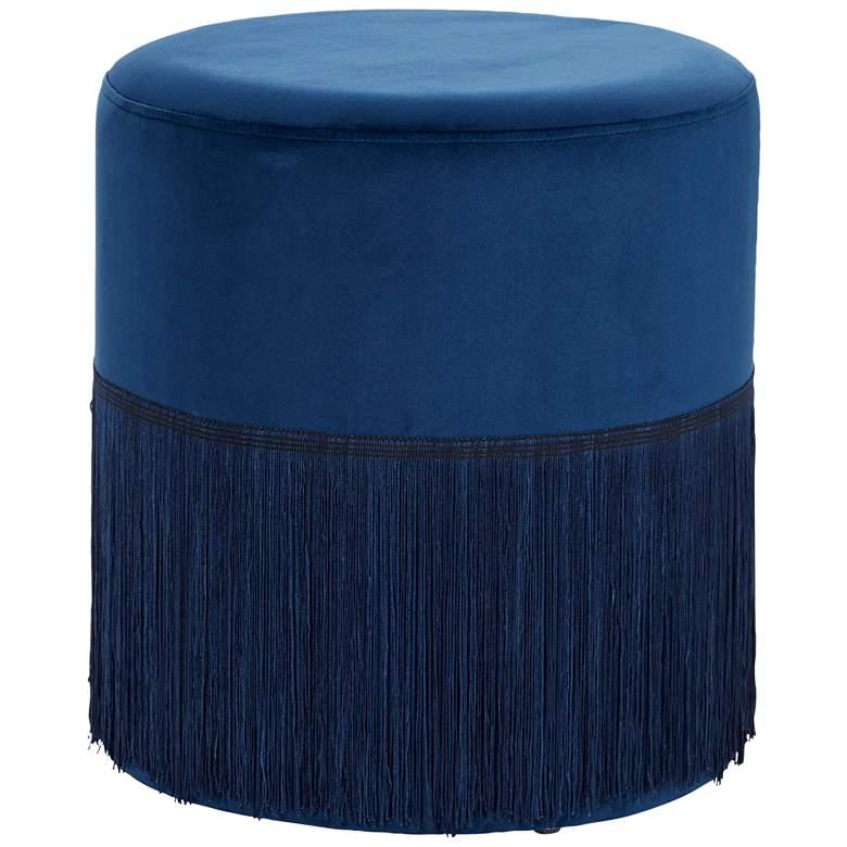 Vanda Royal Blue Round Accent Stool with Fringe Trim