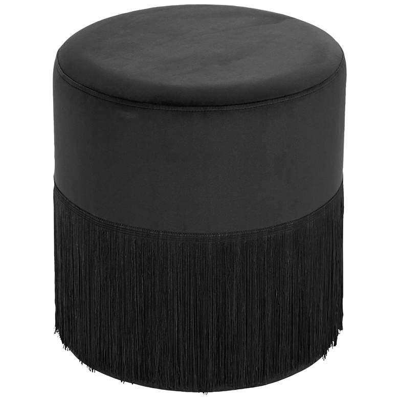 Vanda Black Round Accent Stool with Fringe Trim