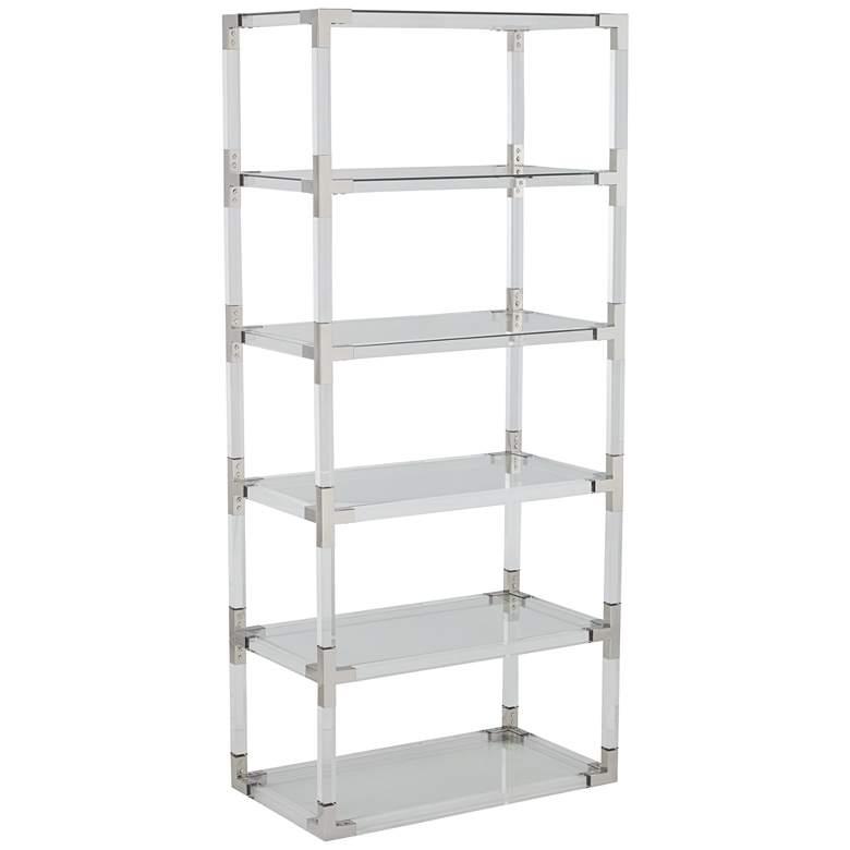 """Hanna 70 3/4"""" Clear Acrylic and Chrome 6-Shelf Open Bookcase"""