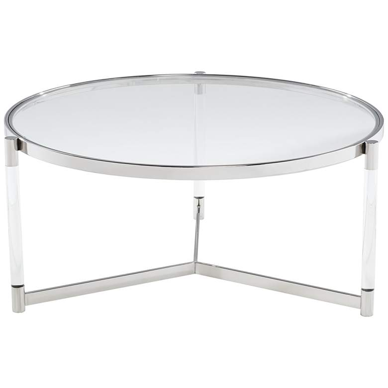 "Stefania 36"" Wide Silver and Acrylic Modern Coffee Table"