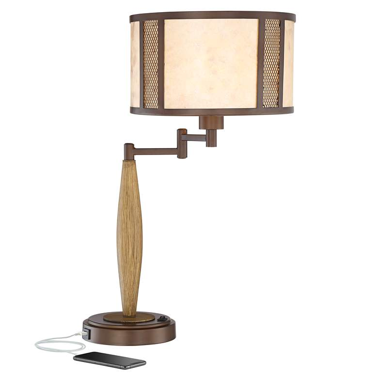 Henning Natural Mica Adjustable Swing Arm USB Table Lamp