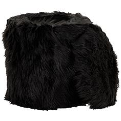 Carminna Black Faux Fur Round Accent Stool with Storage