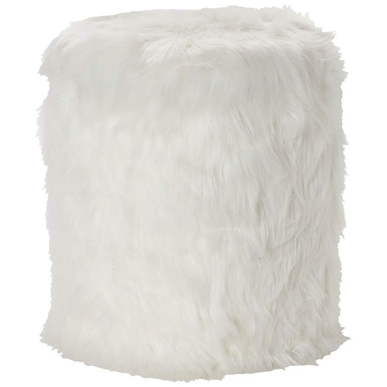 Carminna White Faux Fur Round Accent Stool with Storage