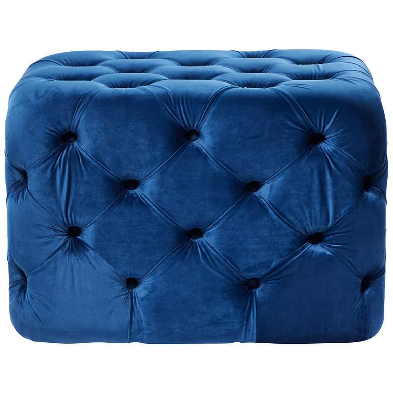 Collie Blue Velvet Tufted Rectangular Ottoman Bench