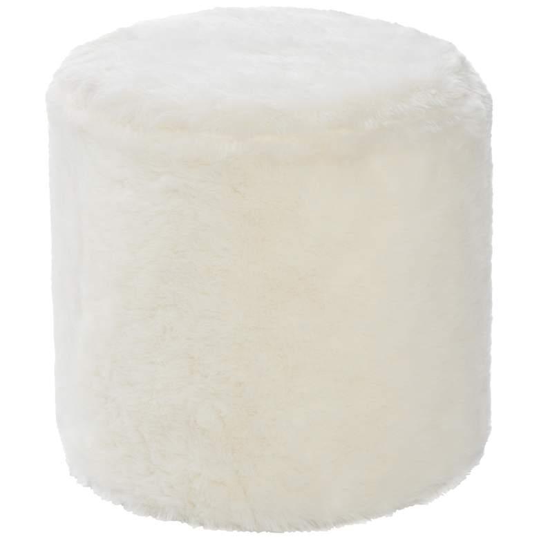 Gavia White Faux Fur Round Ottoman
