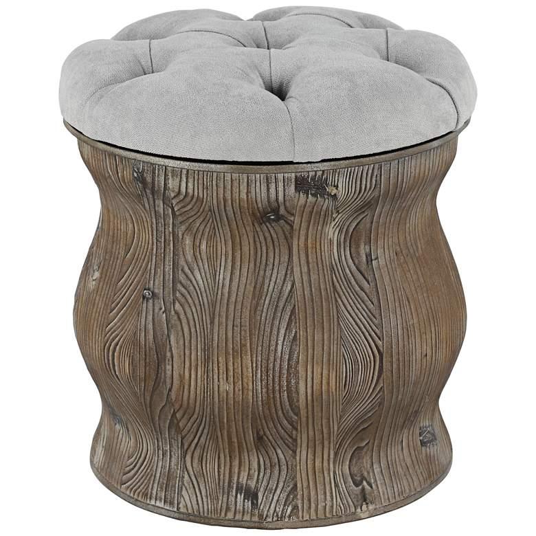 Newl Light Gray Tufted Round Wood Ottoman with Storage