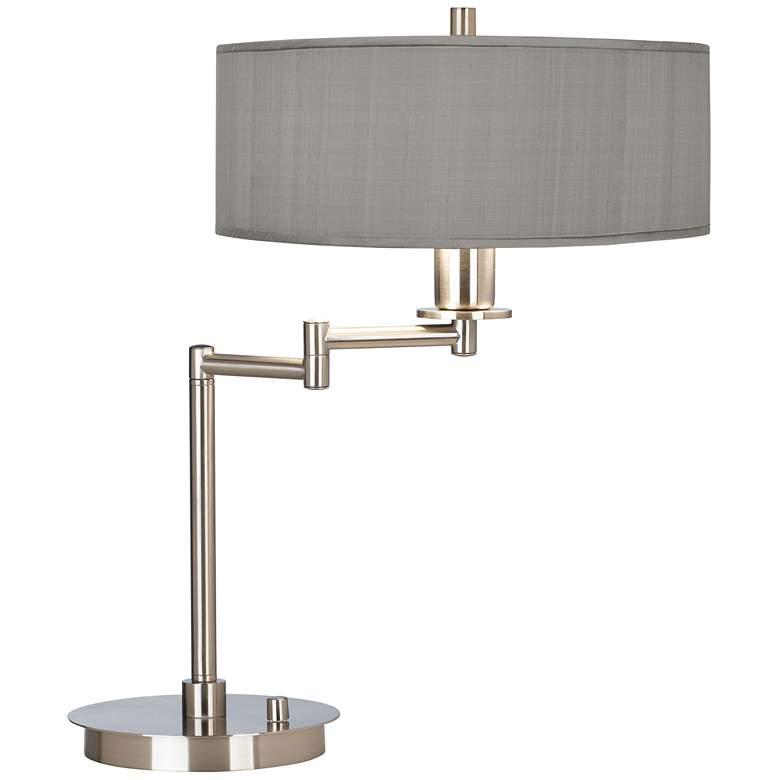 Gray Faux Silk Shade Modern LED Swing Arm Desk Lamp