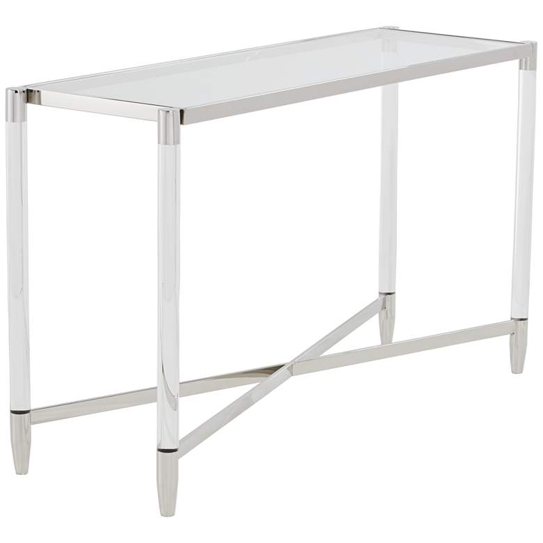 """Stefania 50"""" Wide Silver and Acrylic Modern Console Table"""