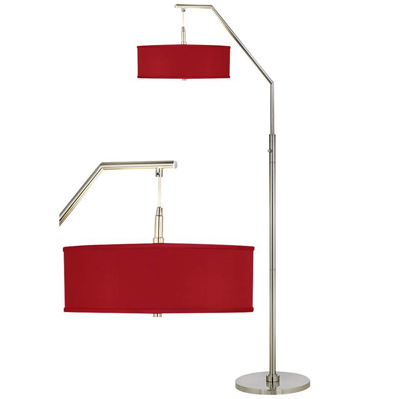 Red Textured Faux Silk Arc Floor Lamp