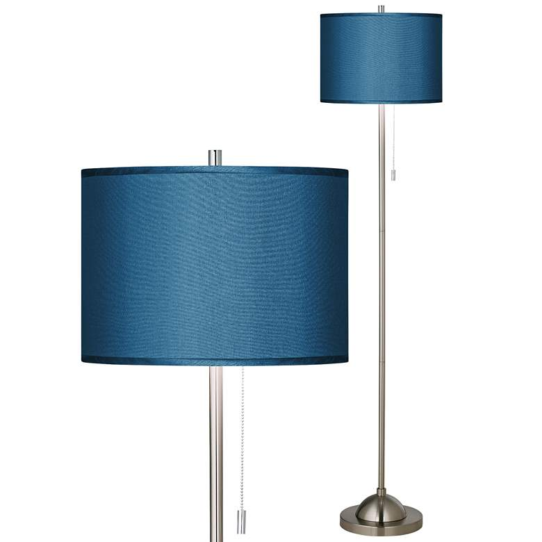 Blue Textured Polyester Brushed Nickel Pull Chain Floor Lamp