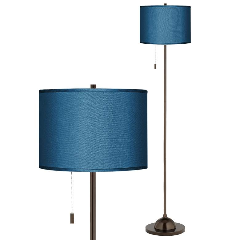 Blue Faux Silk Shade Bronze Club Floor Lamp