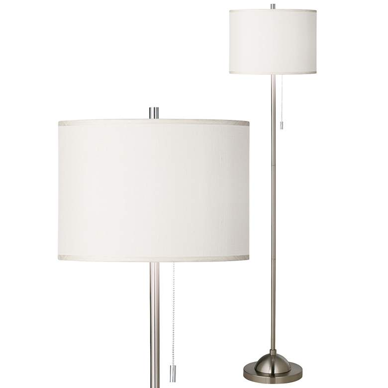 Cream Polyester Brushed Nickel Pull Chain Floor Lamp