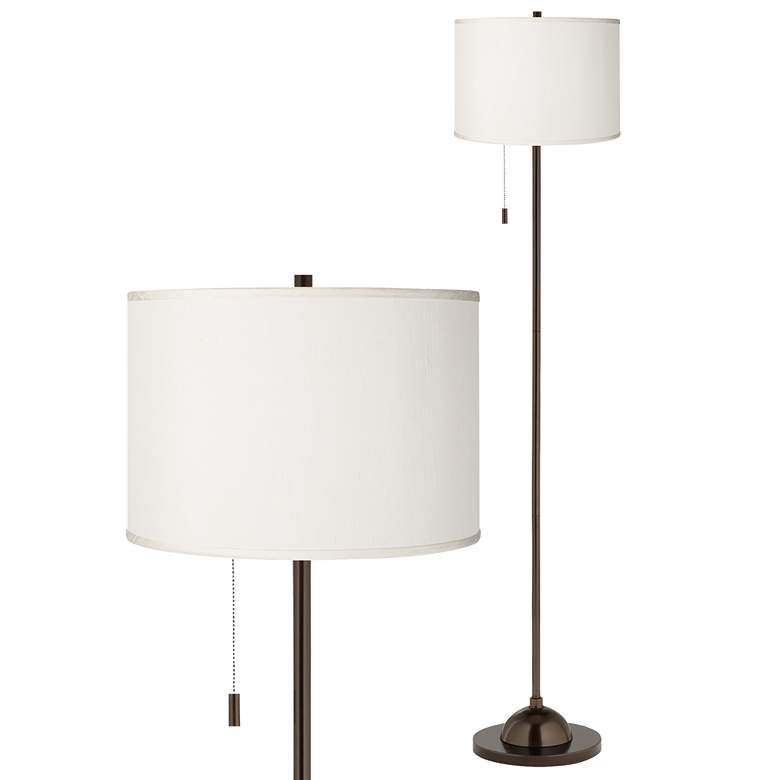 Cream Faux Silk Shade Bronze Club Floor Lamp