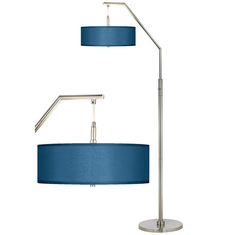 Blue Faux Silk Shade Brushed Nickel Arc Floor Lamp