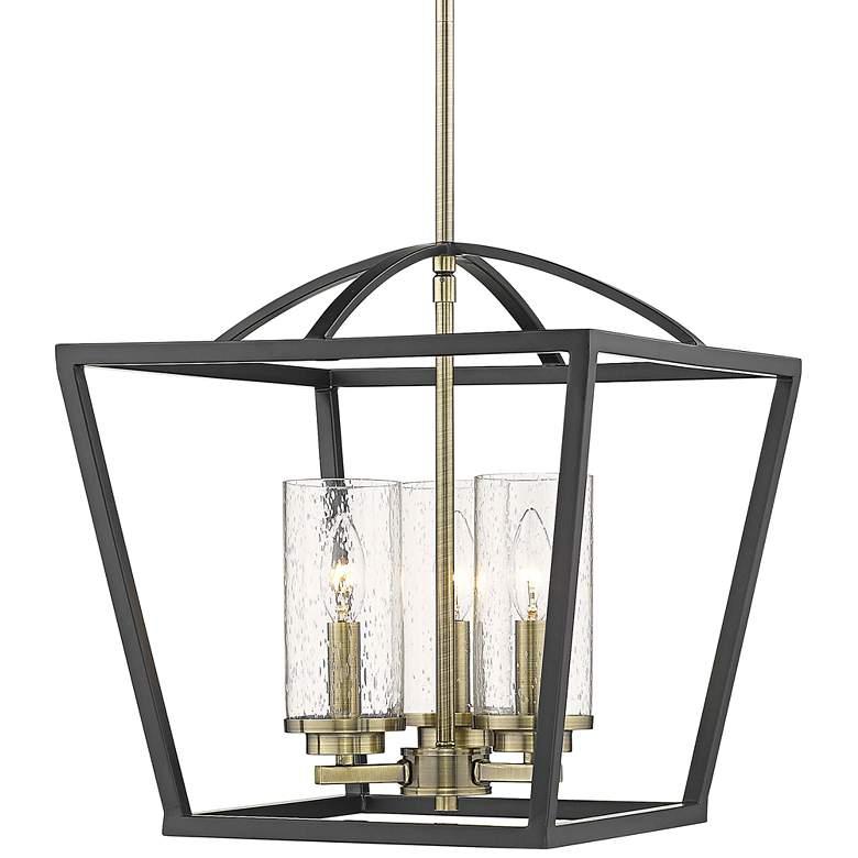 """Mercer 15"""" Wide Matte Black 3-Light Foyer Pendant Light"""