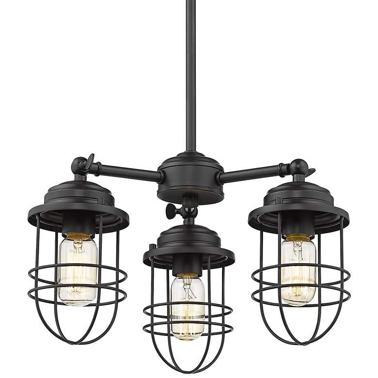 "Seaport 16 1/4"" Wide Matte Black 3-Light Pendant Light"