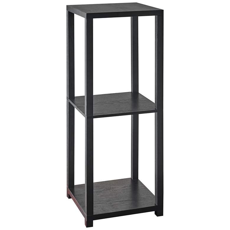 """Lawrence 27 3/4""""H Black Wood 2-Shelf Short Pedestal"""