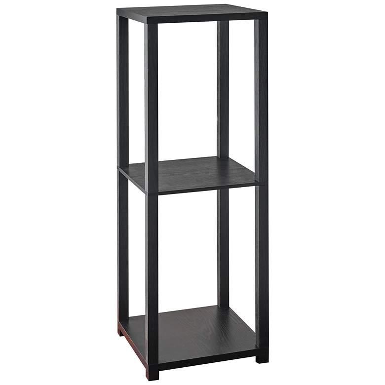 "Lawrence 34 3/4"" High Black Wood 2-Shelf Tall"