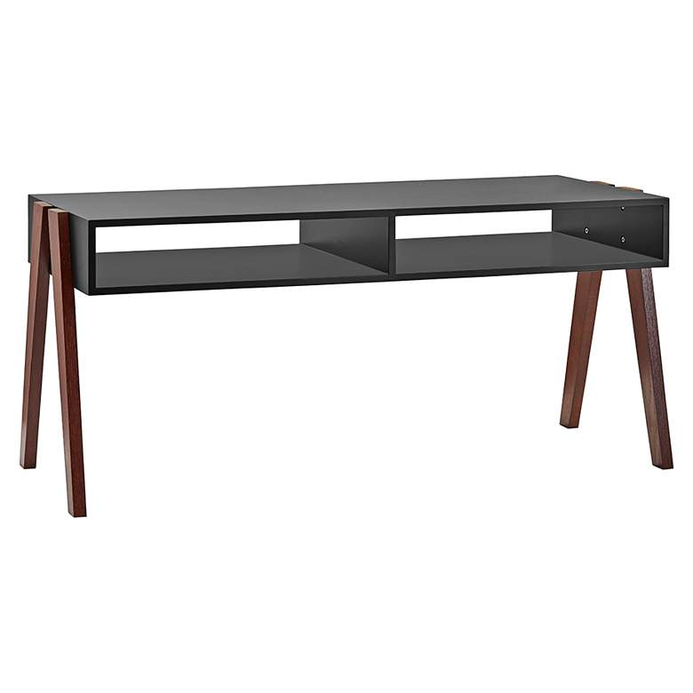 """Laurel 40 3/4"""" Wide Painted Black and Walnut"""