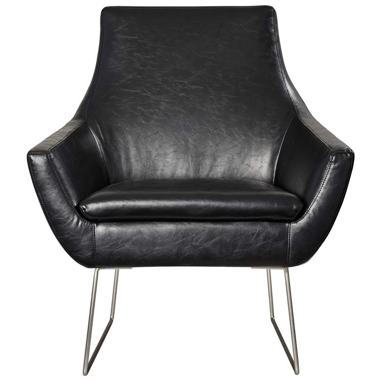 Kendrick Distressed Black Faux Leather Armchair